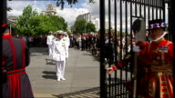 US frigate's crew pays toll of one keg of wine to Tower of London general views of Constable's Dues ceremony ENGLAND London Tower of London EXT...