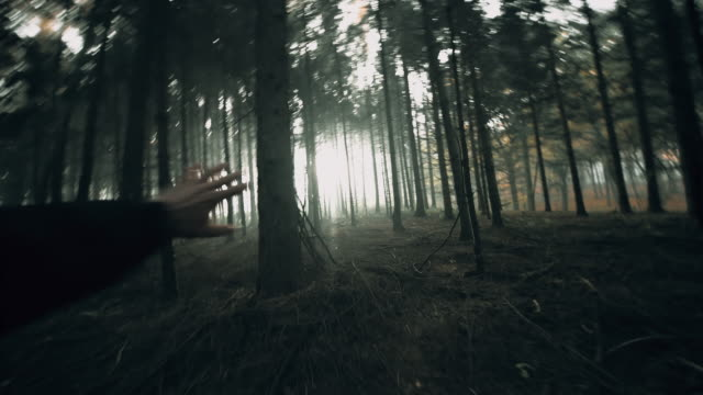 POV Frightened man running in the forest