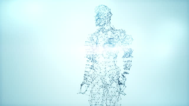 From Dna to Human figure - 4k blue version