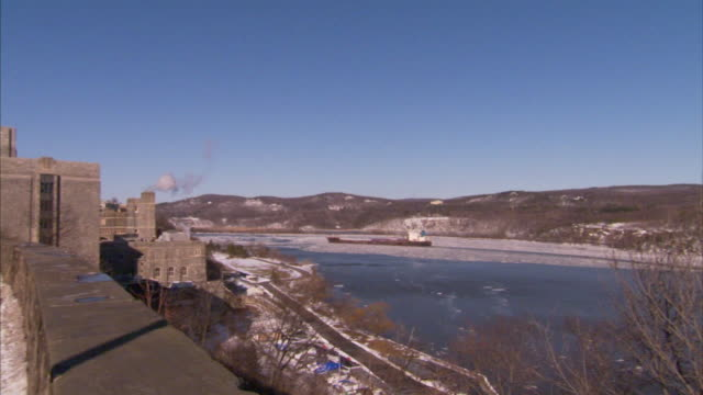From icy Hudson River w/ barge to USMA campus road buildings BG NY