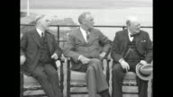 From left to right Canadian Prime Minister Mackenzie King US President Franklin Roosevelt and British Prime Minister Winston Churchill sitting for...