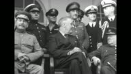 From left to right Soviet Premier Joseph Stalin US President Franklin Roosevelt and British Prime Minister Winston Churchill sitting in chairs on...
