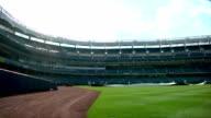 WS PAN Yankee Stadium field unidentifiable workers on field w/ tarp empty stadium seats BG NYC NY Yankees Bronx Bombers MLB baseball