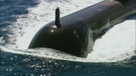 CU TS ZI AERIAL Front of submarine in water, Perth, Western Australia, Australia