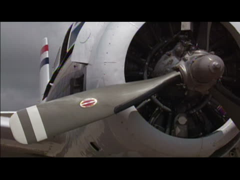 2001 Front of T-28 airplane/ propeller starting/ Goodland, Kansas