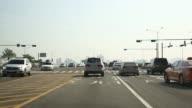 WS front view POV highway WS front view POV highway across a bridge WS front view POV highway approaching IFC Seoul