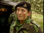 Frontline training for women ENGLAND Royal School of Artillery Lieutenant Nichola Worsley giving orders down field radio SOT as sat in howitzer...