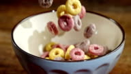 Fruit Loops Falling into Bowl