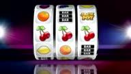 Fruit Machine: Line of Cherries on Dark Background