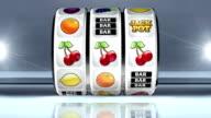 Fruit Machine: Line of Cherries on Light Background