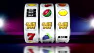 Fruit Machine: Line of JACKPOT on Dark Background