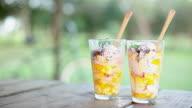 Fruit salad dessert glasses