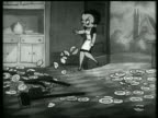 B/W 1937 ANIMATION frustrated Betty Boop kicking dishes on kitchen floor + bonking herself with broom