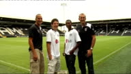 London Craven Cottage EXT New Fulham signing Bobby Zamora sitting in stand / John Pantsil along / Zamora sitting in stand / new signings Zamora...