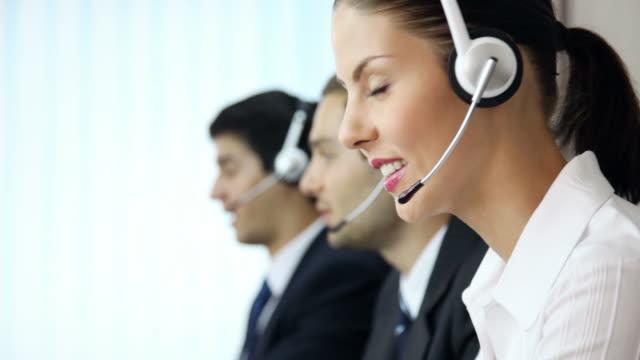 Full HD: Call center phone operators working