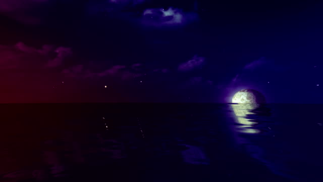 Full moon and rolling cloud sea