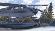 Full shot of a seaplane parking