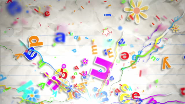Fun Kids Background Loop - Alphabet Letters On Paper HD