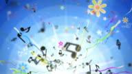 Divertimento bambini sfondo Loop-Musical note di blu (Full HD