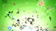 Divertimento bambini sfondo Loop-Musical note di verde (Full HD