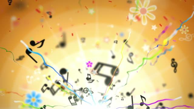 Divertimento bambini Loop-Musical note di sfondo arancione (Full HD