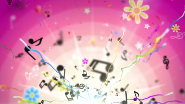 Fun Kids Background Loop - Musical Notes Tropical Pink HD