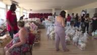Funcionarios hacen donaciones de alimentos y productos basicos para ayudar a sus colegas que no han recibido su sueldo en Rio de Janeiro por los...
