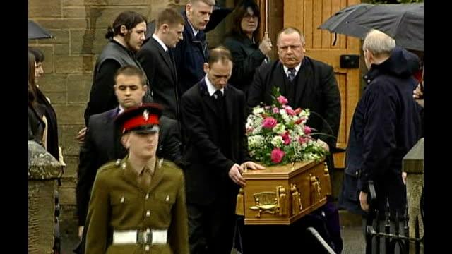 Funeral for murdered schoolgirl Vicky Hamilton RAINING Falkirk Redding Parish Church Family members at funeral of Vicky Hamilton Vicky's coffin...