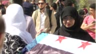 Funeral of Syrian antiAssad activist Orouba Barakat and her 22yearold journalist daughter Hala Barakat who were stabbed to death in their apartment...