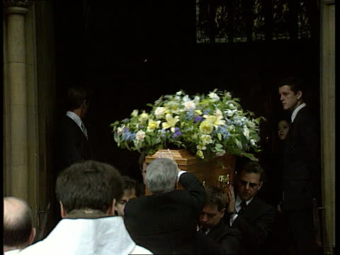 Funeral of the Duchess of Argyle ENGLAND London Mayfair LAGV Catholic church where funeral is taking place MS Coffin being carried CMS Larry Adler...