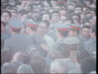 Funeral of three policeman killed by antiFranco guerillas BV Guardia push crowd back CMS PAN as Falangists march RL in front of coffins EKTA 16mm...