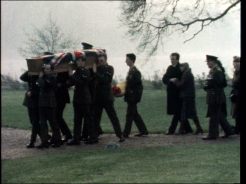 Funeral of undercover soldier killed in Ulster ENGLAND Kent Lullingstone Castle GV Castle Gate GV GOH outside church CS GOH Pull Back MS Side coffin...