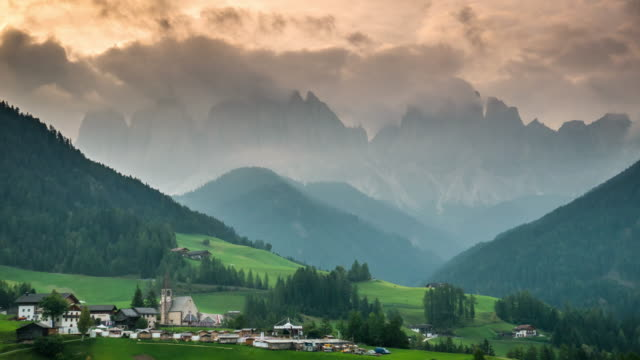 Funes valley Val di funes dolomites Italy sunrise time , Time Lapse
