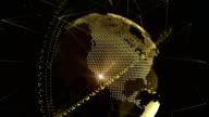 Futuristische 3D Partikel Globus mit Punkten und Verbindungen orbit