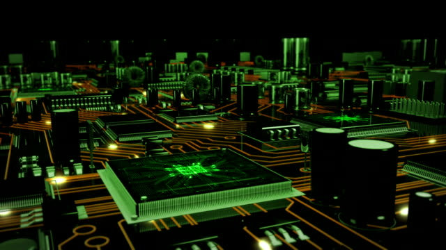 futuristic circuit board with moving electrons loopable