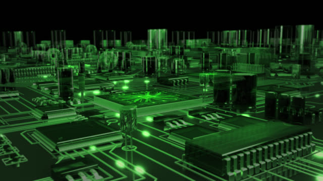 circuit board with moving electronstransparent green stock
