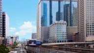 Futuristic city sky train in downtown