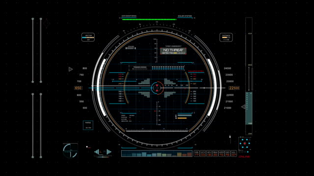 Futuristic radar system screen panel - Hud stock video