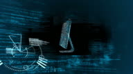 Futuristic screen showing someone using keyboard