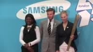 Gabriella Roseje David Beckham OBE Zara Phillips at the Everyone's Olympic Games with Samsung David Beckham at London England