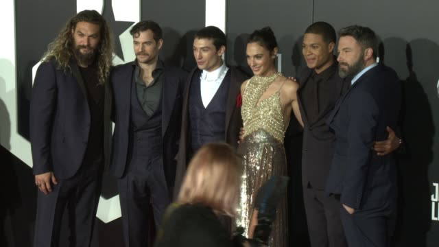Gal Gadot Jason Momoa Henry Cavill Ezra Miller Ray Fisher and Ben Affleck at the 'Justice League' World Premiere at Dolby Theatre on November 13 2017...