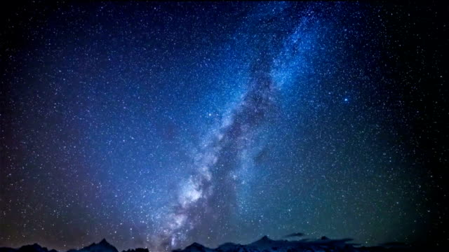 galaxy above the snow mountain
