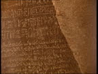 British Museum celebrates 250th birthday INT Faces of visitors reflected in glass case PULL FOCUS rosetta stone Section of rosetta stone Rosetta...