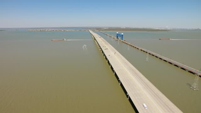 WS AERIAL Galveston Causeway in Galveston Bay / Galveston, Texas, United States