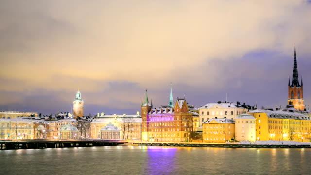 Gamla Stan Old town Stockholm City Sweden at dusk panning