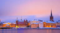 Gamla Stan Old town Stockholm City Sweden at dusk Zoomout