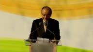 Gandhi statue unveiling Arun Jaitley speech SOT / Sajid Javid MP introduction SOT /