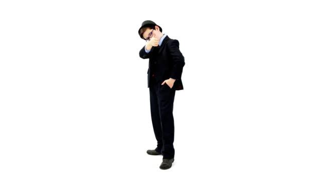 Gangster ragazzo su sfondo bianco (montaggio