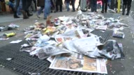 Garbage and litter remain in the streets where the Thanksgiving Day parade has just vacated / Macy's Thanksgiving Day Parade on November 22 2012 in...