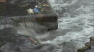 CU Garbage in stream flowing over concrete block / Chongqing, Sichuan Province, China